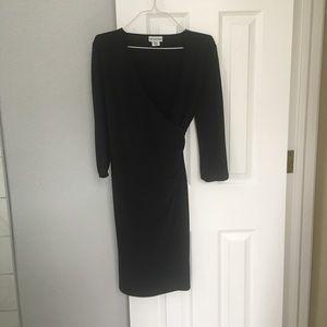 Maternity black faux wrap dress
